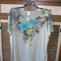 Green Gray Heather Large Blue Yellow Floral Knit Top T-Shirt Cj Banks Sz 2x Nwt Photo