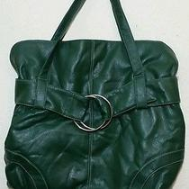 Green Hobo Style Handbag Gold Ring Design Faux Leather