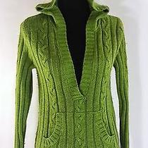 Green Hooded Cable Sweater v Neck Cable M Medium 8 10 Photo