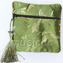 Green Jewelry Pocket Money Silk Zipper Bags Pouches T868a03 Photo