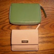 Green Kate Spade I Phone Wallet and Blush Coral Pink Bifold Wallet Key Ring Set Photo