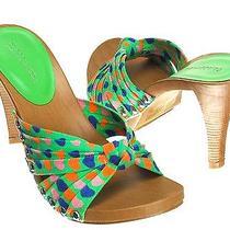 Greenpinkwomen Fashion Heart Print Faux Wood Stacked Heels Slip on Sandalsrx Photo