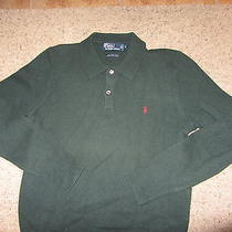 Green Polo by Ralph Lauren 100% Lambs Wool Crewneck Pony Sweater M Medium Dress Photo
