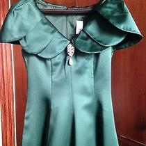 Green Satin Long Fantasy Party Prom Fairy Costume Vintage Dress Sx 9/10 Photo
