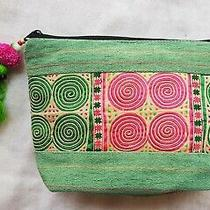 Green Vintage Handbags Clutch Wallet Tribe Gift Unique Thai Hmong Embroidered  Photo