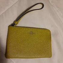 Green Yellow Coach New York Wallet Wristlet Small Purse Bag Photo