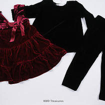 Greggy Girl Holiday Fantasy Cranberry Dress Set 2t Nwt Photo