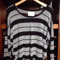 Grey and Black Stripe Dolman Batwing Top Sz L Like Gap Excellent Condition Photo