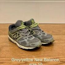 Grey and Yellow New Balance Boys Sneakers Size 10 - Pre-Owned in Good Condition Photo