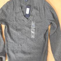 Grey Cable v  Neck Tommy Hilfiger Sweater Xl L New Nwt Photo