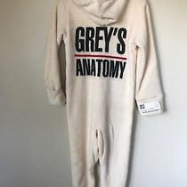 Greys Anatomy Footed Pajamas Size Xs Cafe Press Cream Hooded Thumb Holes  Photo