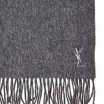 Grey/white Yves Saint Laurent Ysl Wool Scarf Womens Made in Italy 100% Authentic Photo