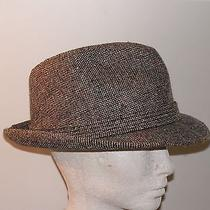 Grey Wool Tweed Fedora Trilby Hat From Stevens - Size 7 1/8 Photo
