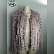 Greylin Natalia Shag Blush Pink Faux Fur Jacket Size Medium Anthropologie Photo