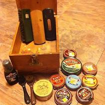 Griffin Shinemaster Original Oak Wood Shoe Shine Vintage Wood Box Lot & Contents Photo