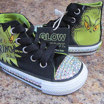 Grinch Converse All Star Infant Toddler Tennis Shoe Sneakers Rhinestone Crystals Photo