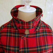 Grunge Burberrys Burberry Mens Tartan Plaid Jacket Cropped Trenchcoat Trench Red Photo