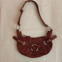 Grunge Small Brown Everyday Casual Leather Handbag With Buckles Photo