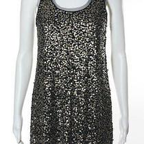 Gryphon Black Gold Metallic Sequin Sleeveless Cocktail Dress Sz S Photo