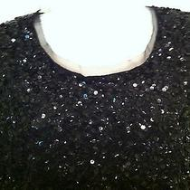 Gryphon Black Sequin Mesh Top Shirt Holiday Size M Photo