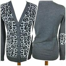 Gryphon Cardigan Women Size S Merino Wool Gray Elbow Patches Covered Buttons  Photo