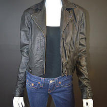 Gryphon New York Black Crinkled Leather Bomber Jacket Sz S Photo