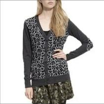 Gryphon New York Leopard Cardigan Sequin Gray Merino Wool Elbow Patches 495 M Photo