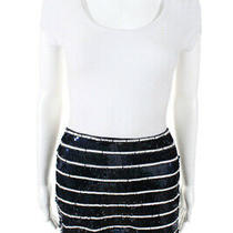Gryphon New York Womens Sequin Striped Mini Skirt Blue White Size Large Photo