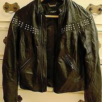 Gryphon Studded Black Leather Bomber Jacket Xs Photo