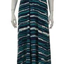 Gryphon Womens Dress Size M Blue White Printed Maxi Sheath Long Sleeveless Silk Photo