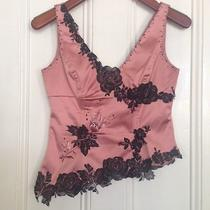 Guc Adrianna Papell Blush Satin Asymmetrical Embellished Corset Top Sz 4p Photo