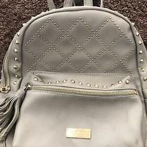 Guc Bebe Gray Gold Studded Jewel Faux Leather Backpack Purse Bag Photo