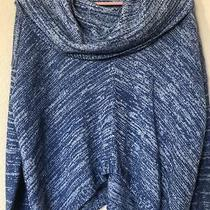 Guc Express Womens Blue White Cowl Neck Long Sleeve Wool Blend Sweater Size Xs Photo
