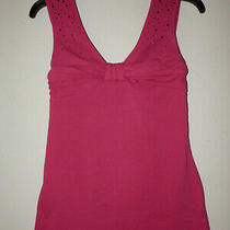 Guc Express Womens S Wide Straps Top Stretch Sleeveless Rhinestone Ruched Pink  Photo