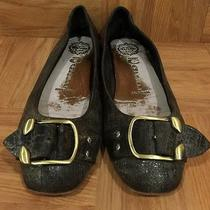 Guc  Jeffrey Campbell Flapper Black Distressed Leather Buckle Ballet Flats 6 Photo