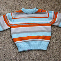 Guc Toddler Aqua/orange/beige Striped Long Sleeve Sweater Gymboree 18-24 Months Photo
