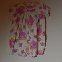 Guc Yellow/pink Short Sleeve Cotton Floral Romper by Baby Lulu Size 6 Mos Photo