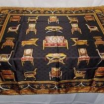 Gucci 100% Silk Italy Gold Black Elegant Chair Furniture Scarf Shawl Photo