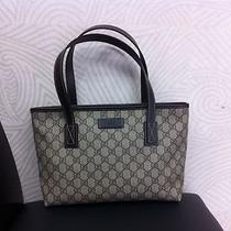 Gucci 211138 Gg Plus Ladies Tote Bag Dark Brown Like New Condition Free Shipping Photo