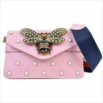 Gucci 453778 Broadway Pearl Studded Bee Mini Clutch Shoulder Bag Rose Gold Rare Photo