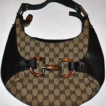 Gucci Amalfi Leather Gc Canvas Hobo Bag 100% Authentic Small Photo