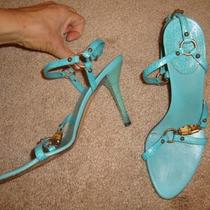 Gucci  Aqua Blue Bamboo Heel Strappy as Is Heel Size 6.5b Photo