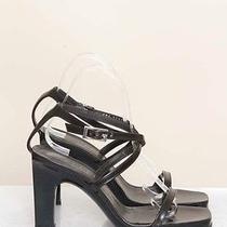 Gucci Auth Brown Black Leather Am 350 Strappy Sandal Heel Shoe Saks Sz 7/7.5 B Photo