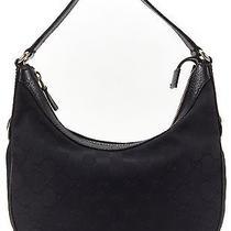 Gucci Authentic Black Gg Canvas Small Hobo Handbag Photo