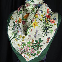 Gucci Authentic Vintage 1970s Accornero Floral Silk Square Scarf-26