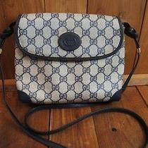 Gucci Authentic Vintage Blue Cream Shoulder Women's Purse Bag  Photo