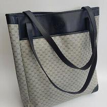 Gucci Bag. Gucci Vintage Navy Monogram Large Shoulder Tote Bag. Photo