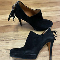 Gucci Bamboo Tassel Black Suede Leather Heels Booties Size 38 Photo