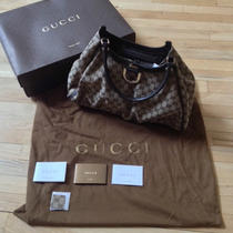 Gucci Beige/brown Gg Canvas Gold D Ring Hobo Bag Large Photo