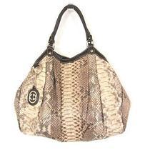 Gucci Beige & Brown Leather Trim Large Python 'Sukey' Tote/shoulder Bag Photo